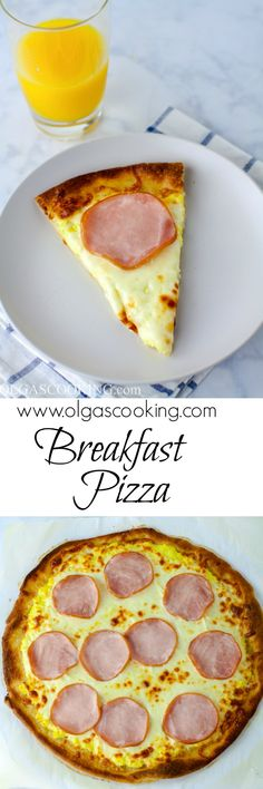 Ingredients for Breakfast Pizza 1 (11 oz.) Phillsbury Thin Pizza Crust Olive oil 2 tbsp. unsalted butter 8 large eggs, whisked Salt Freshly ground black pepper 1/2 cup heavy cream 1/2 cup freshly grated Parmesan 2 cups shredded Mozzarella cheese 6 oz. Canadian bacon Directions Preheat oven to 400°F. Cover round pizza pan with parchment paper...