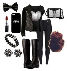 """""""▪️Black ▪️"""" by deshae27 ❤ liked on Polyvore featuring River Island, Carianne Moore, Steve Madden, Casetify, Belk & Co. and MAC Cosmetics"""