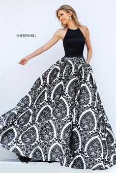 Sherri Hill 50577 Black and White Ballgown Dress form Homecoming or Prom #ipaprom #sherrihill