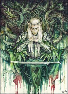 "Thranduil ""The Hobbit"" Tolkien, Lotr, Elfen Fantasy, Elf King, O Hobbit, Hobbit Art, Elves And Fairies, Fantasy Kunst, Illustration"
