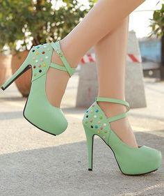 Stiletto Super High Heels in Green