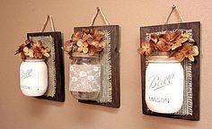 Mason Jar Wall Decor , Burlap and Lace, Pallet Wood , Rustic ...