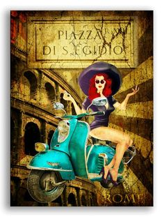 Cuadro vinatge chica con Vespa-Pin Up Rome