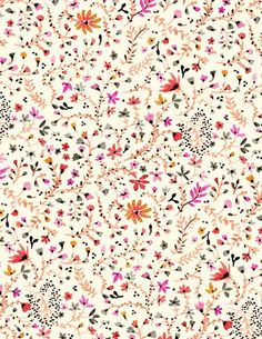 Autumn Floral - A gallery-quality illustration art print by Vikki Chu for sale. Illustration Inspiration, Pattern Illustration, Motif Floral, Floral Prints, Art Prints, Ditsy Floral, Floral Pattern Print, Floral Fabric, Pretty Patterns