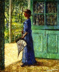 Woman Standing In The Dutch Door Artwork by Helen M. Turner