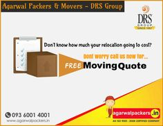 Don't know how much your relocation is going to cost? #Don't #worry, here's our #Free #Moving #Quote..! #relocation #lowcost Visit us: www.agarwalpackers.in