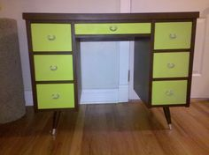 Desk I refinished with brown and lime green spray paint
