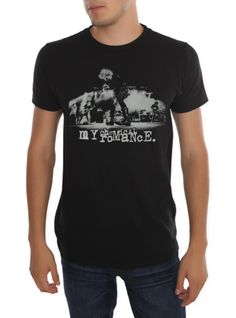 Slim-fit black T-shirt from My Chemical Romance encompassing a live performance shot of the band at its acme:)