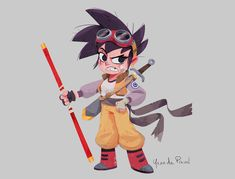 Here is my entry for the Character Design Challenge of last month which was obviously Dragon Ball. She's the great great great gran-daughter of Goku.