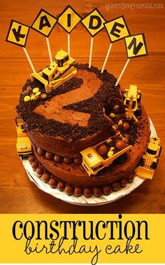 Construction Cake - Kid's Birthday Cake Idea Click through for the recipe!  Queen Bee Coupons