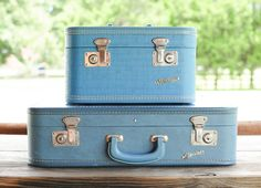 Vintage blue suitcase and travel case » Ever After Vintage Weddings and Vintage Rentals Tampa