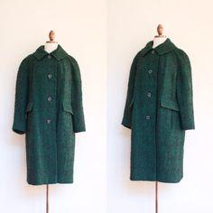 vintage 1960s Corner Casuals green and black marled wool coat by inheritedattire