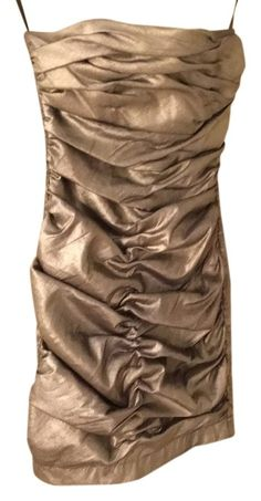 Holiday Perfection Under $50 ships free Jessica McClintock Glamourous Ruched Bronze 4 Small Xs S Dress.