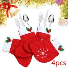 4Pcs Christmas Socks Cutlery Tableware Holder Bag Pockets Sets Dinner Decoration