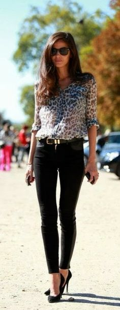 Leopard blouse, black skinnies, heels