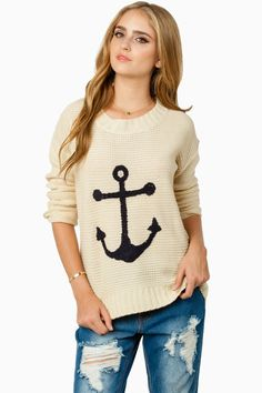 ShopSosie Style : Sea Anchor Sweater in Ivory and Navy