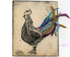 coq  pointe sèche & tissu - papier: 22 x 28 cm - plaque: 9 x 11 cm