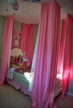 curtains over little girls bed, bedroom ideas, diy, home decor, how to, reupholster, window treatments, the curtains all hung up and open
