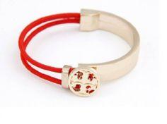 Punk Gold Metal Designer Cord Bracelets Elastic Fashion Unique Cheap Jewelry 4 Colors (Red C)