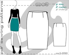PDF Sewing Patterns for Women Pencil Skirt Sloper Block > by mc2patterns > S-M-L Small-Medium-Large > mc2-011101 > Instant Download - JUST CLICK