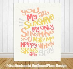 PRINTABLE Any Size You Are My Sunshine My Only by OurSecretPlace, $13.99