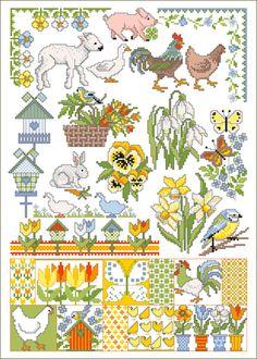 Stickvorlage Lindner's Kreuzstiche - Frühlingsgrüße