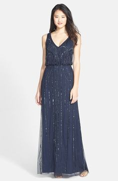 Navy Downton Abbey Women's Adrianna Papell Beaded Mesh Blouson Gown