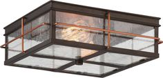 Two Light Outdoor Flush Mount Howell - 2 Light Outdoor Flush Fixture with 60w Vintage Lamps Included, Bronze with Copper Accents Finish