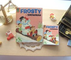 dollhouse comic christmas frosty the snowman  vintage inspired 12th scale or playscale lakeland artist by Rainbowminiatures on Etsy