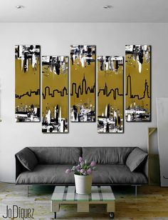 New York skyline. Modern wall art with from Jo Diquez. Boston Skyline, Toronto Skyline, Seattle Skyline, Cuadros Diy, Skyline Painting, Skyline Art, 3 Piece Canvas Art, Metallic Gold Paint, London Art