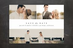 """""""Simple Date"""" - Classical, Modern Save The Date Cards in Frosting by peony papeterie."""