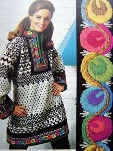 130 Vintage KNITTING CROCHET PATTERNS Norwegian Tunic~Folkloric Dress