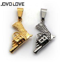 New Fashion Stainless Steel Jewelry Men's Machine Gun Pistol Pendant Necklace
