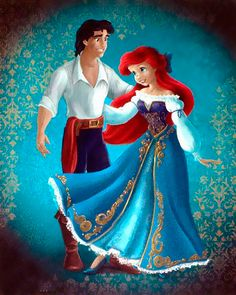 Ariel & Eric <3 The dress itself isn't all that different in style from what she wears in the movie, but the varied shoulders and embellishment still adds a wonderful touch. Eric, however, doesn't look like he's changed much, but then does he really need to? ;3