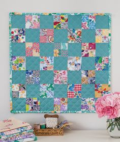 4-square feedsack patchwork mini quilt. Handmade by Stacy Olson