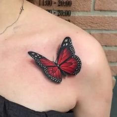If you're looking for 3d, tiny, large, geometric, dreamy, delicate tattoo ideas in black ink or color, let these butterfly designs inspire your next piece of body art. Realistic Butterfly Tattoo, Butterfly Tattoo Cover Up, Butterfly Tattoo Meaning, Butterfly Tattoo On Shoulder, Butterfly Tattoos For Women, Butterfly Tattoo Designs, Shoulder Tattoo, Tattoo Designs Men, Colorful Butterfly Tattoo
