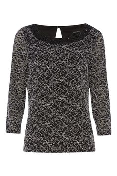 This stunning lace top features an embellished neckline to add that extra special touch. Fully lined and constructed in a soft stretch lace fabric with 3/4 length sleeves, wear with coated jeans and heels for an evening out.