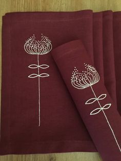 Linen Placemats Hand Embroidery Set 6 Red Wine Color by Rokasdarbi