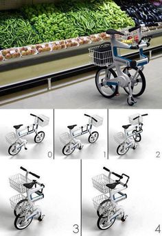 ''Ville'' Folding Bike Doubles As A Shopping Cart.