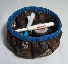 Gathered Round Fabric Basket... made using tutorial by A Spoonful of Sugar ~ Threading My Way