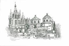 La Parroquia, San Miguel de Allende Ink drawing by William E. Morrow