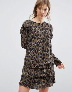 Vero Moda – Rüschenbluse mit Leopardenmuster