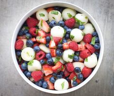 Gorgeous Red, White & Blue fruit salad recipe by Linda Wagner (I would use honey instead of stevia, but to each her own.)
