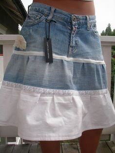 White shirt added on to denim skirt to create new look Clothes Crafts, Sewing Clothes, Jeans Refashion, Denim Crafts, Recycle Jeans, Old Jeans, Recycled Denim, Denim And Lace, Denim Outfit