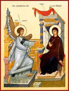 The Annunciation - by Marysia Kowalchyk Byzantine Art, Byzantine Icons, Religious Icons, Religious Art, Angelus, Mama Mary, Holy Mary, Art Thou, Madonna And Child