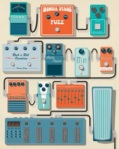 Check out this stellar pedal board. Distortion? Layers? Whatever you'd like.   Artwork by Hunter Langston for Honda Stage