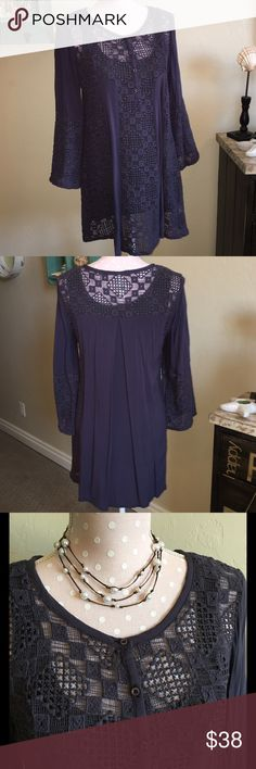 Dark Purple Tunic Dress Monoreno Dark Purple Cotton Lace Dress or Tunic.💜NEW ITEM!   ▪BUNDLE & SAVE!▪️Only 1 Shipping Fee! ▪REASONABLE OFFERS CONSIDERED!! ▪️NO TRADES OR HOLDS! Sorry! ▪Instagram:  FROSTINGJEWELRY Monoreno Dresses Midi