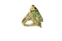 Another look at our 18K Gold Triple Green Tourmaline Ring with Pavé Diamond Band