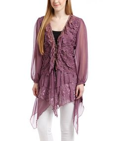 CrazyRomantic.com loves this! Look what I found on #zulily! Mauve Lace Ruffle Long-Sleeve Linen-Blend Top - Women #zulilyfinds