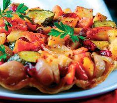 Cranberry Glazed Root Vegetable Tarte Tatin Recipe: Cook Vegetarian Magazine